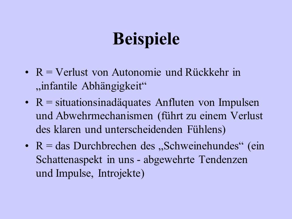 Beispiele R = Verlust von Autonomie und Rückkehr in infantile Abhängigkeit R = situationsinadäquates Anfluten von Impulsen und Abwehrmechanismen (führ