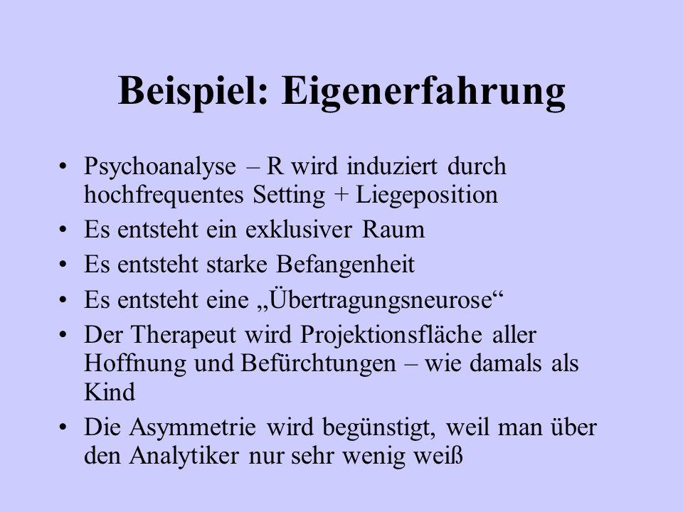 Beispiel: Eigenerfahrung Psychoanalyse – R wird induziert durch hochfrequentes Setting + Liegeposition Es entsteht ein exklusiver Raum Es entsteht sta