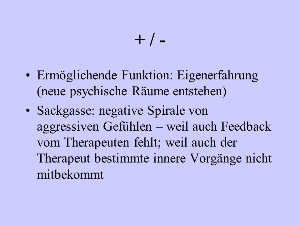 + / - Ermöglichende Funktion: Eigenerfahrung (neue psychische Räume entstehen) Sackgasse: negative Spirale von aggressiven Gefühlen – weil auch Feedba