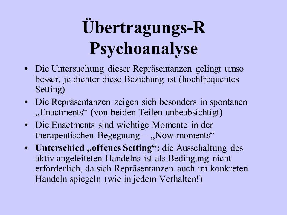 Übertragungs-R Psychoanalyse Die Untersuchung dieser Repräsentanzen gelingt umso besser, je dichter diese Beziehung ist (hochfrequentes Setting) Die R