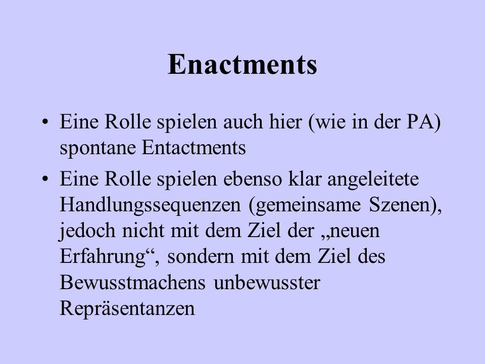 Enactments Eine Rolle spielen auch hier (wie in der PA) spontane Entactments Eine Rolle spielen ebenso klar angeleitete Handlungssequenzen (gemeinsame
