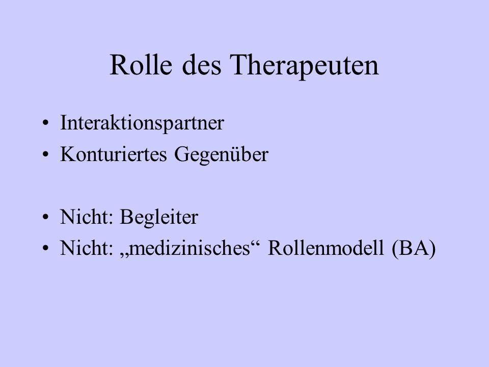 Rolle des Therapeuten Interaktionspartner Konturiertes Gegenüber Nicht: Begleiter Nicht: medizinisches Rollenmodell (BA)