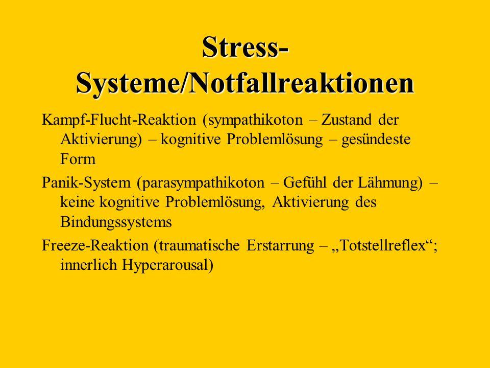 Stress- Systeme/Notfallreaktionen Kampf-Flucht-Reaktion (sympathikoton – Zustand der Aktivierung) – kognitive Problemlösung – gesündeste Form Panik-Sy