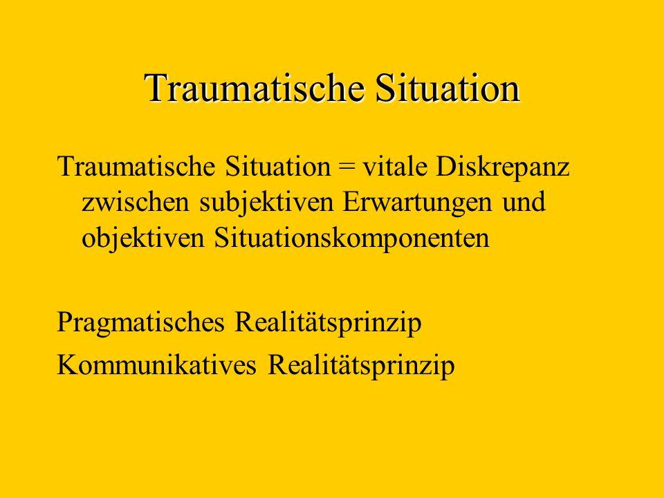 Traumatische Situation Traumatische Situation = vitale Diskrepanz zwischen subjektiven Erwartungen und objektiven Situationskomponenten Pragmatisches