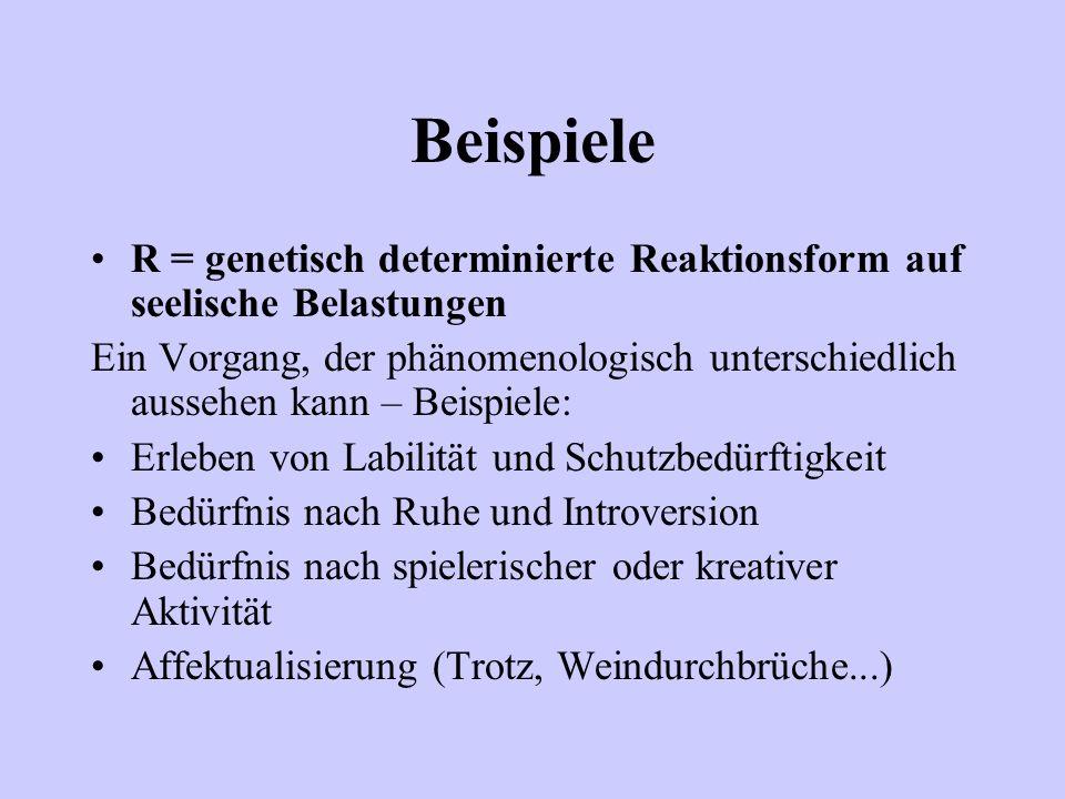 Beispiele R = genetisch determinierte Reaktionsform auf seelische Belastungen Ein Vorgang, der phänomenologisch unterschiedlich aussehen kann – Beispi