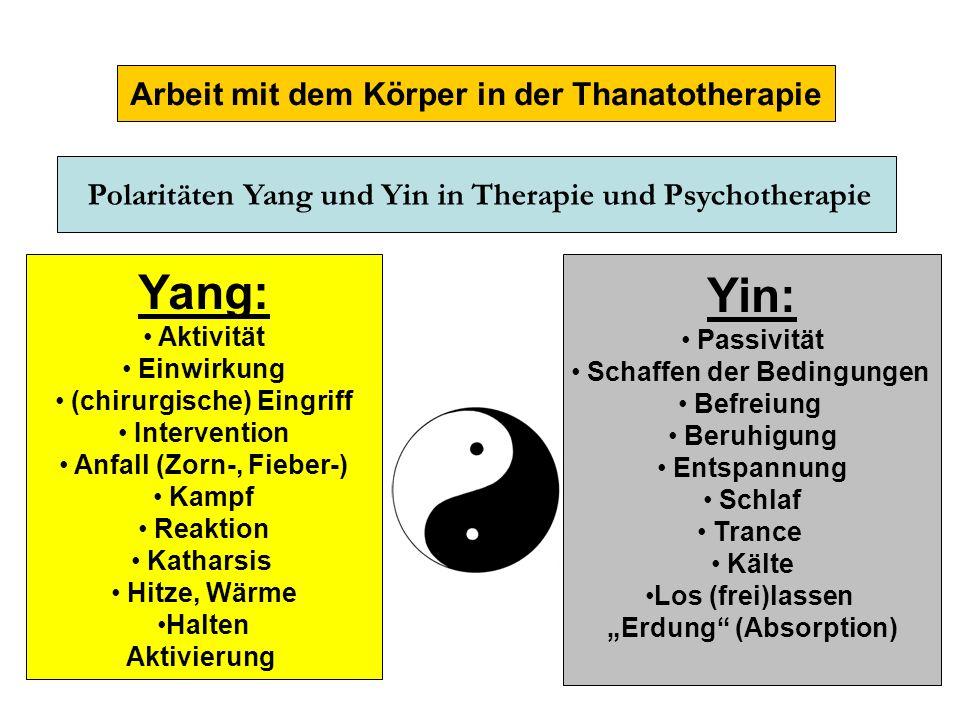 Arbeit mit dem Körper in der Thanatotherapie Yin: Passivität Schaffen der Bedingungen Befreiung Beruhigung Entspannung Schlaf Trance Kälte Los (frei)l