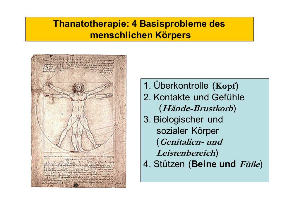 Thanatotherapie: 4 Basisprobleme des menschlichen Körpers 1. Überkontrolle ( Kopf ) 2. Kontakte und Gefühle ( Hände-Brustkorb ) 3. Biologischer und so