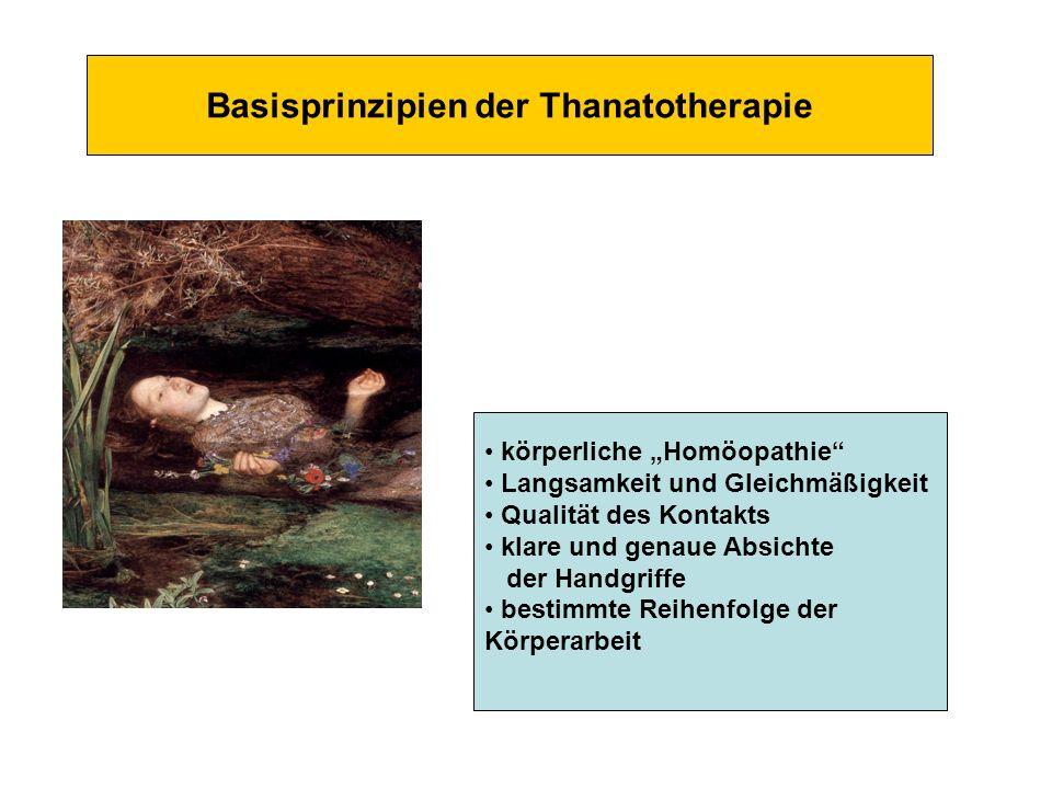 Basisprinzipien der Thanatotherapie körperliche Homöopathie Langsamkeit und Gleichmäßigkeit Qualität des Kontakts klare und genaue Absichte der Handgr