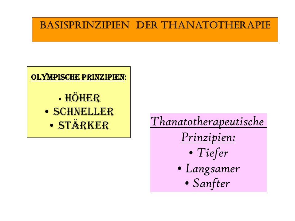 Thanatotherapeutische Prinzipien: Tiefer Langsamer Sanfter Olympische Prinzipien: Höher Schneller Stärker BasisprinzipIen der Thanatotherapie