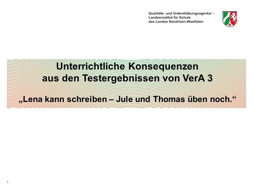 1 Unterrichtliche Konsequenzen aus den Testergebnissen von VerA 3 Lena kann schreiben – Jule und Thomas üben noch.