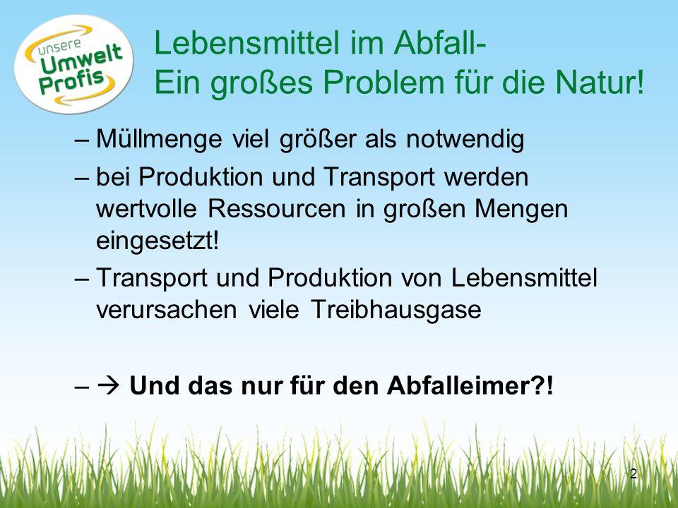 Lebensmittel im Abfall- Ein großes Problem für die Natur! –Müllmenge viel größer als notwendig –bei Produktion und Transport werden wertvolle Ressourc