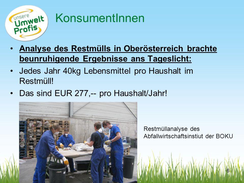 KonsumentInnen Analyse des Restmülls in Oberösterreich brachte beunruhigende Ergebnisse ans Tageslicht: Jedes Jahr 40kg Lebensmittel pro Haushalt im R
