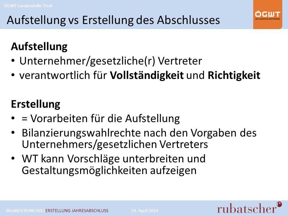 ÖGWT Landesstelle Tirol Aufstellung vs Erstellung des Abschlusses Aufstellung Unternehmer/gesetzliche(r) Vertreter verantwortlich für Vollständigkeit