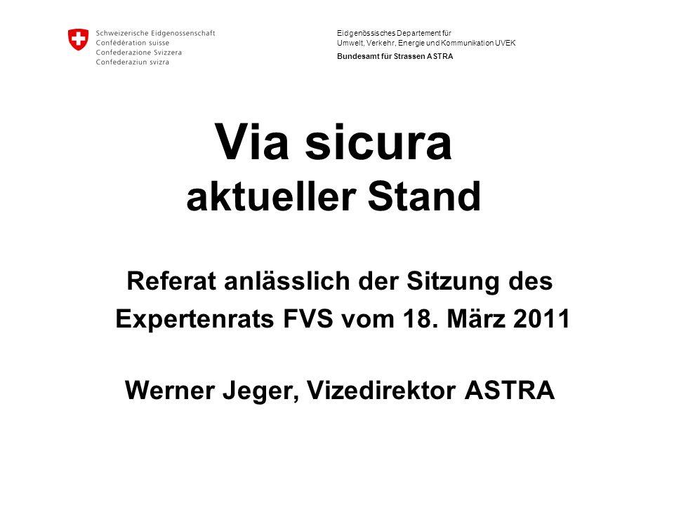 Eidgenössisches Departement für Umwelt, Verkehr, Energie und Kommunikation UVEK Bundesamt für Strassen ASTRA Via sicura aktueller Stand Referat anlässlich der Sitzung des Expertenrats FVS vom 18.