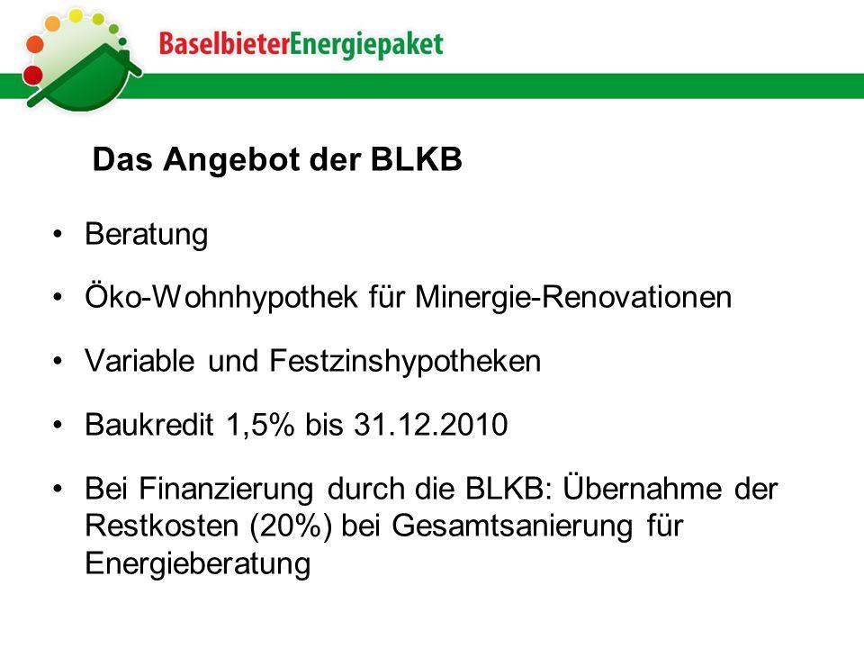 Das Angebot der BLKB Beratung Öko-Wohnhypothek für Minergie-Renovationen Variable und Festzinshypotheken Baukredit 1,5% bis 31.12.2010 Bei Finanzierung durch die BLKB: Übernahme der Restkosten (20%) bei Gesamtsanierung für Energieberatung