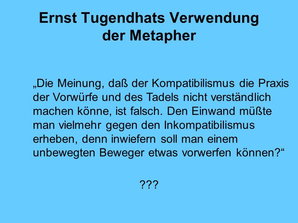 Ernst Tugendhats Verwendung der Metapher Die Meinung, daß der Kompatibilismus die Praxis der Vorwürfe und des Tadels nicht verständlich machen könne, ist falsch.