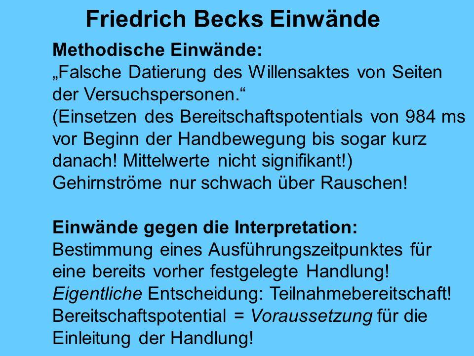 Friedrich Becks Einwände Methodische Einwände: Falsche Datierung des Willensaktes von Seiten der Versuchspersonen.