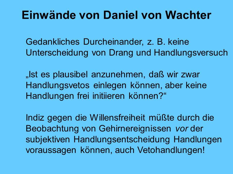 Einwände von Daniel von Wachter Gedankliches Durcheinander, z.