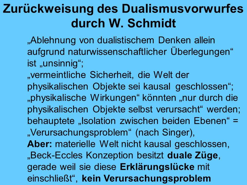 Zurückweisung des Dualismusvorwurfes durch W.