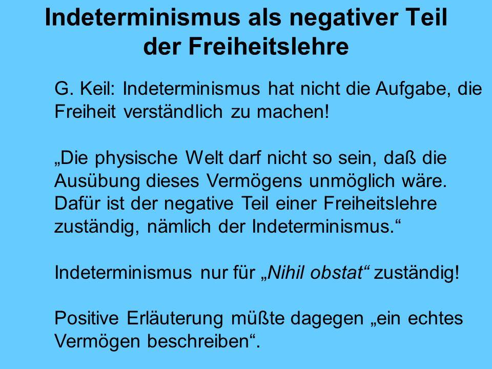 Indeterminismus als negativer Teil der Freiheitslehre G.