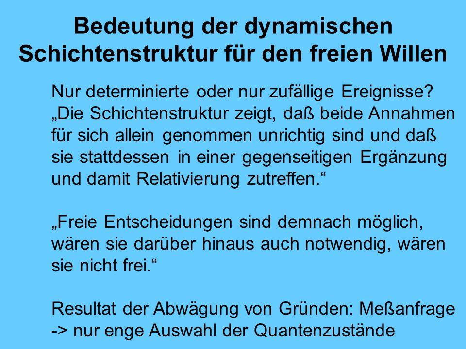 Bedeutung der dynamischen Schichtenstruktur für den freien Willen Nur determinierte oder nur zufällige Ereignisse.