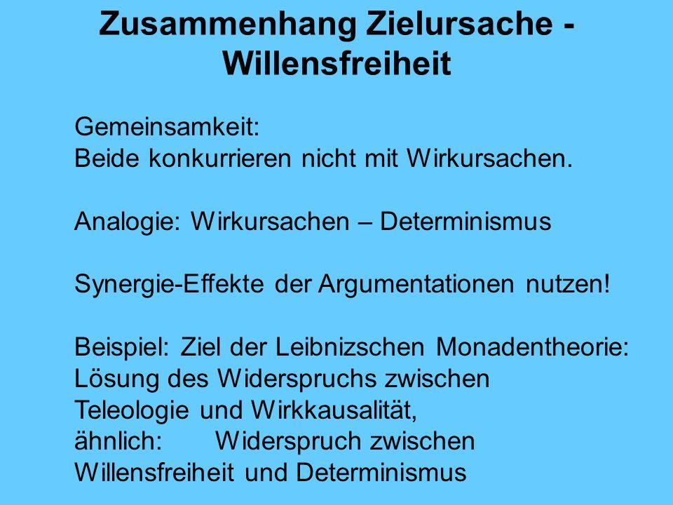 Zusammenhang Zielursache - Willensfreiheit Gemeinsamkeit: Beide konkurrieren nicht mit Wirkursachen.