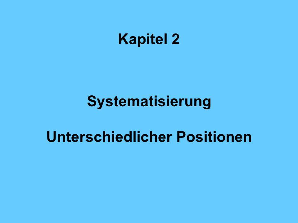 Kapitel 2 Systematisierung Unterschiedlicher Positionen