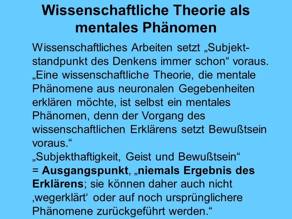 Wissenschaftliche Theorie als mentales Phänomen Wissenschaftliches Arbeiten setzt Subjekt- standpunkt des Denkens immer schon voraus.