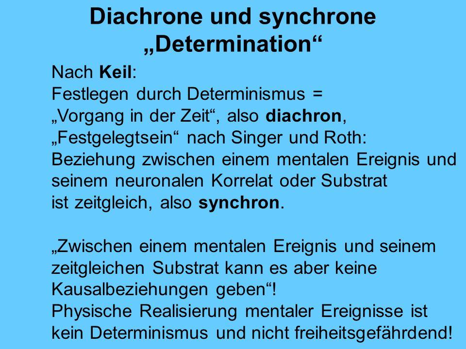 Diachrone und synchrone Determination Nach Keil: Festlegen durch Determinismus = Vorgang in der Zeit, also diachron, Festgelegtsein nach Singer und Roth: Beziehung zwischen einem mentalen Ereignis und seinem neuronalen Korrelat oder Substrat ist zeitgleich, also synchron.