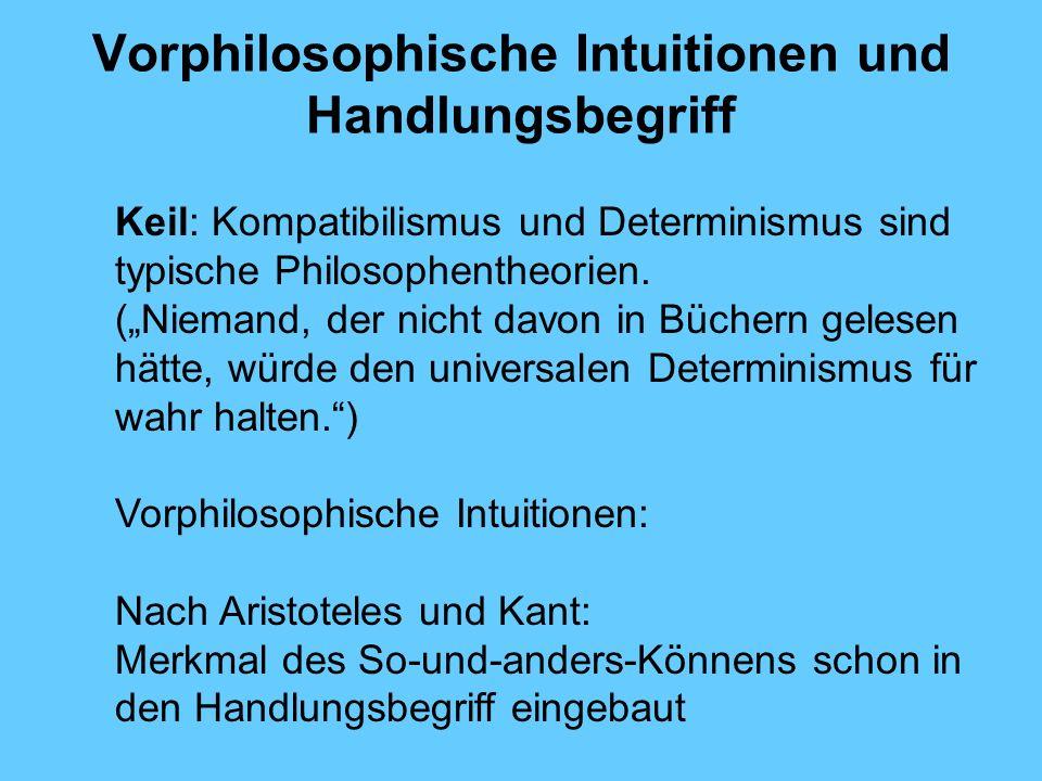 Vorphilosophische Intuitionen und Handlungsbegriff Keil: Kompatibilismus und Determinismus sind typische Philosophentheorien.