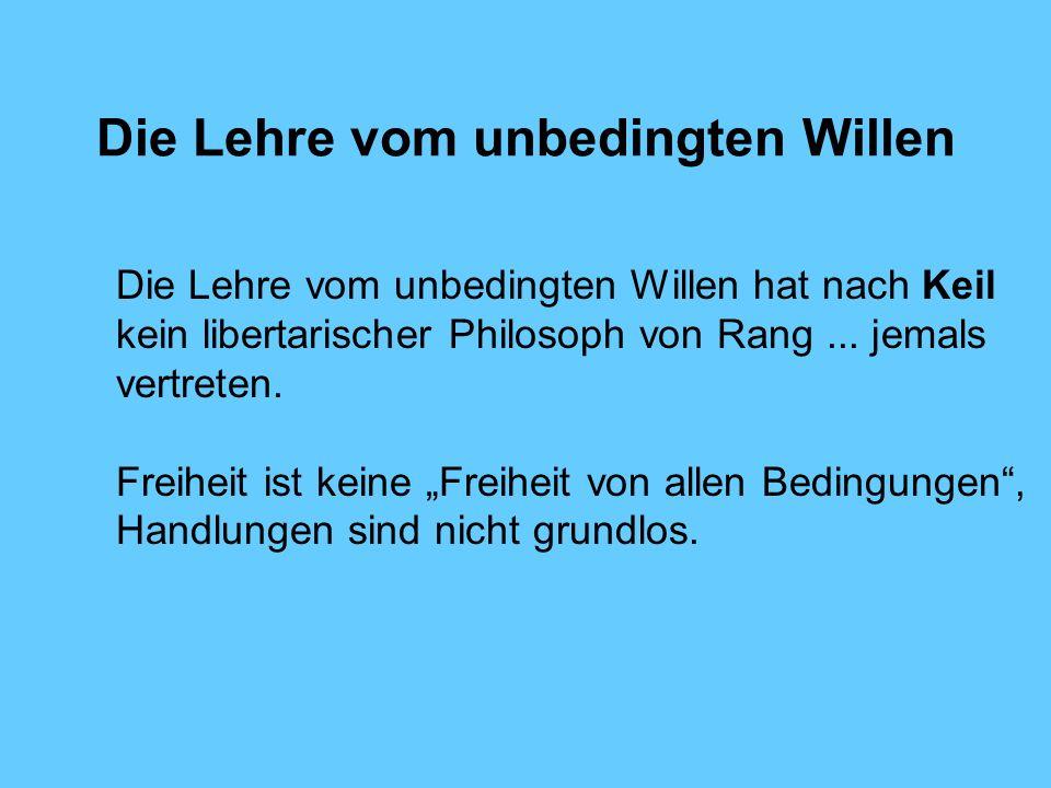 Die Lehre vom unbedingten Willen Die Lehre vom unbedingten Willen hat nach Keil kein libertarischer Philosoph von Rang...