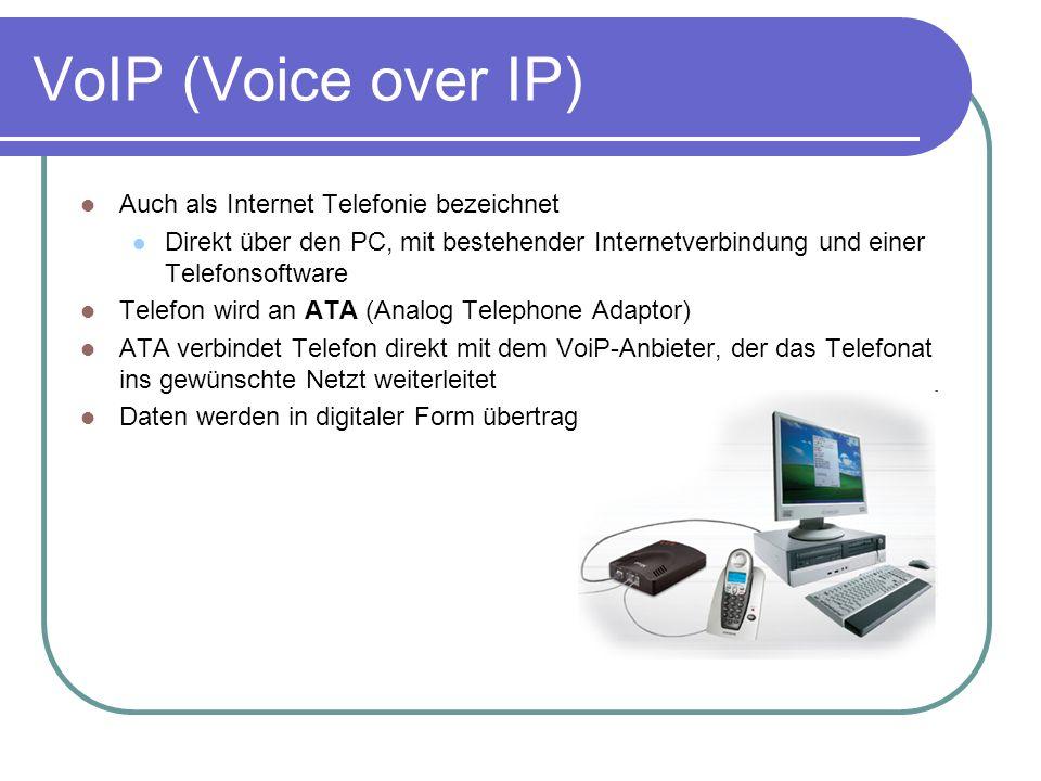 VoIP (Voice over IP ) Auch als Internet Telefonie bezeichnet Direkt über den PC, mit bestehender Internetverbindung und einer Telefonsoftware Telefon