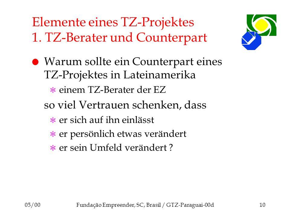 05/00Fundação Empreender, SC, Brasil / GTZ-Paraguai-00d10 Elemente eines TZ-Projektes 1. TZ-Berater und Counterpart l Warum sollte ein Counterpart ein