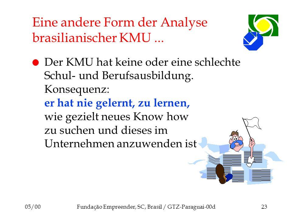05/00Fundação Empreender, SC, Brasil / GTZ-Paraguai-00d23 Eine andere Form der Analyse brasilianischer KMU... l Der KMU hat keine oder eine schlechte