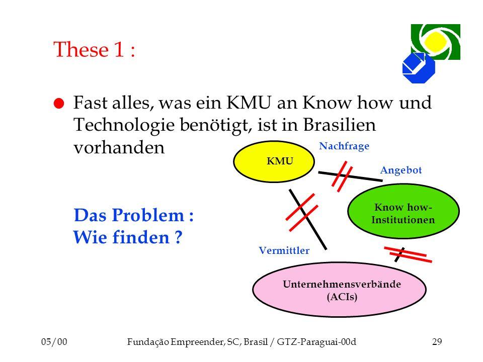 05/00Fundação Empreender, SC, Brasil / GTZ-Paraguai-00d29 l Fast alles, was ein KMU an Know how und Technologie benötigt, ist in Brasilien vorhanden D