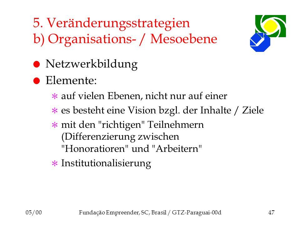 05/00Fundação Empreender, SC, Brasil / GTZ-Paraguai-00d47 5. Veränderungsstrategien b) Organisations- / Mesoebene l Netzwerkbildung l Elemente: [ auf