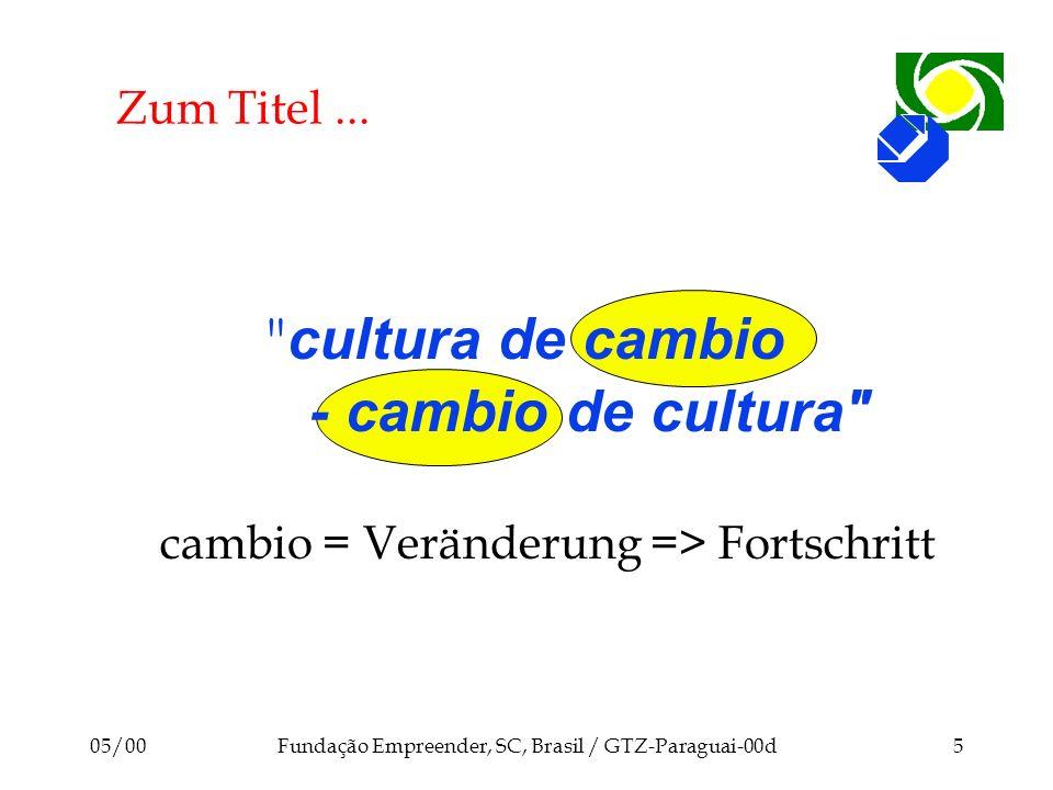 05/00Fundação Empreender, SC, Brasil / GTZ-Paraguai-00d6 Fortschritts -Philosophien Zeit Niveau