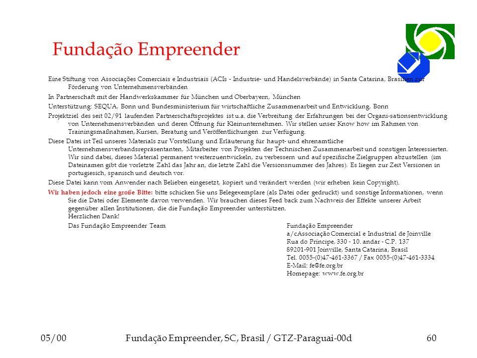 05/00Fundação Empreender, SC, Brasil / GTZ-Paraguai-00d60 Fundação Empreender Eine Stiftung von Associações Comerciais e Industriais (ACIs - Industrie