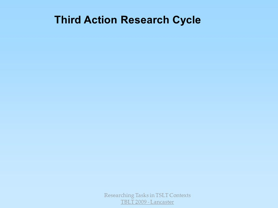 Researching Tasks in TSLT Contexts TBLT 2009 - Lancaster Third Action Research Cycle
