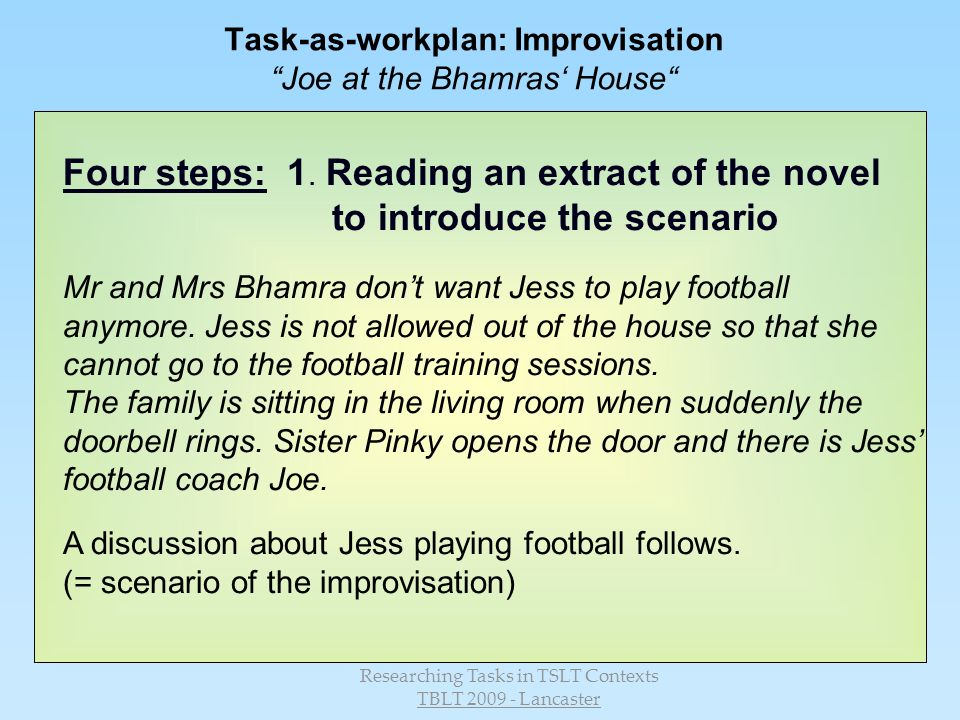 Researching Tasks in TSLT Contexts TBLT 2009 - Lancaster Task-as-workplan: Improvisation Joe at the Bhamras House Four steps: 1.
