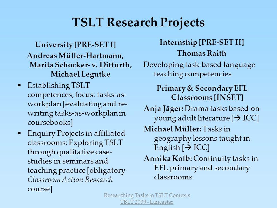 Researching Tasks in TSLT Contexts TBLT 2009 - Lancaster 3.
