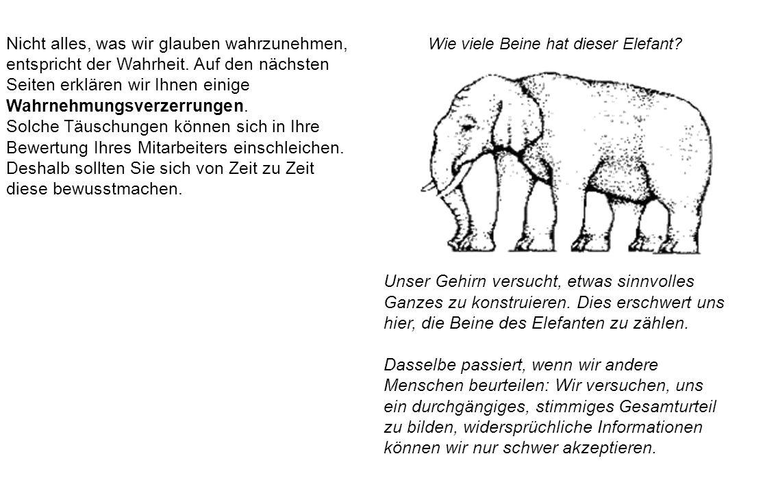 Wie viele Beine hat dieser Elefant? Unser Gehirn versucht, etwas sinnvolles Ganzes zu konstruieren. Dies erschwert uns hier, die Beine des Elefanten z