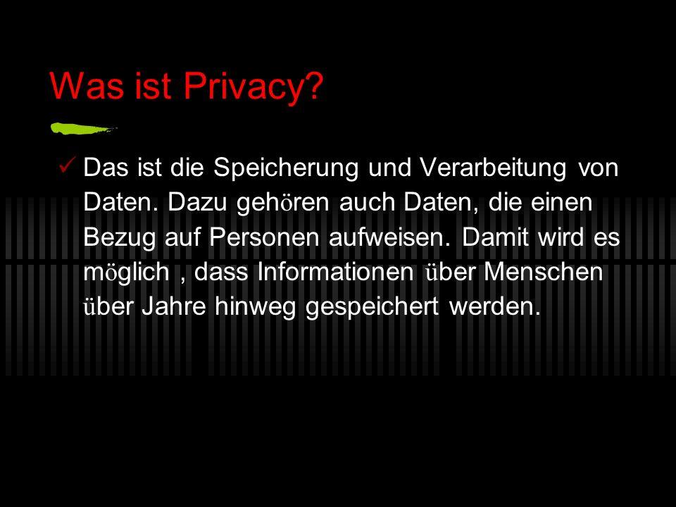 Was ist Privacy. Das ist die Speicherung und Verarbeitung von Daten.