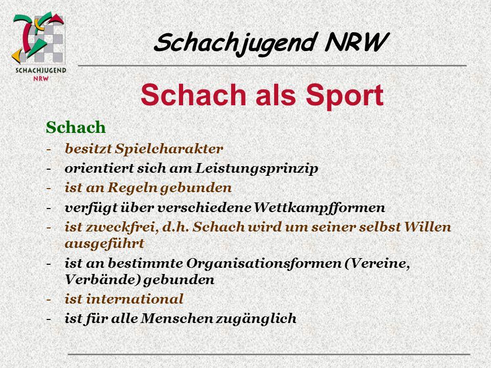 Schachjugend NRW Schach als Sport Schach -besitzt Spielcharakter -orientiert sich am Leistungsprinzip -ist an Regeln gebunden -verfügt über verschiedene Wettkampfformen -ist zweckfrei, d.h.