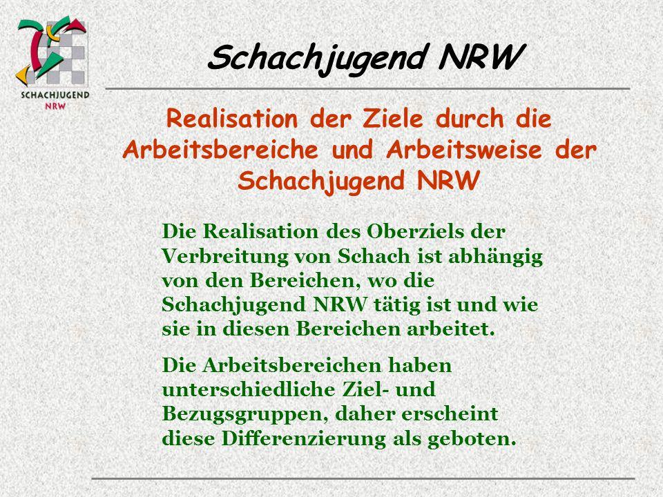 Realisation der Ziele durch die Arbeitsbereiche und Arbeitsweise der Schachjugend NRW Die Realisation des Oberziels der Verbreitung von Schach ist abhängig von den Bereichen, wo die Schachjugend NRW tätig ist und wie sie in diesen Bereichen arbeitet.