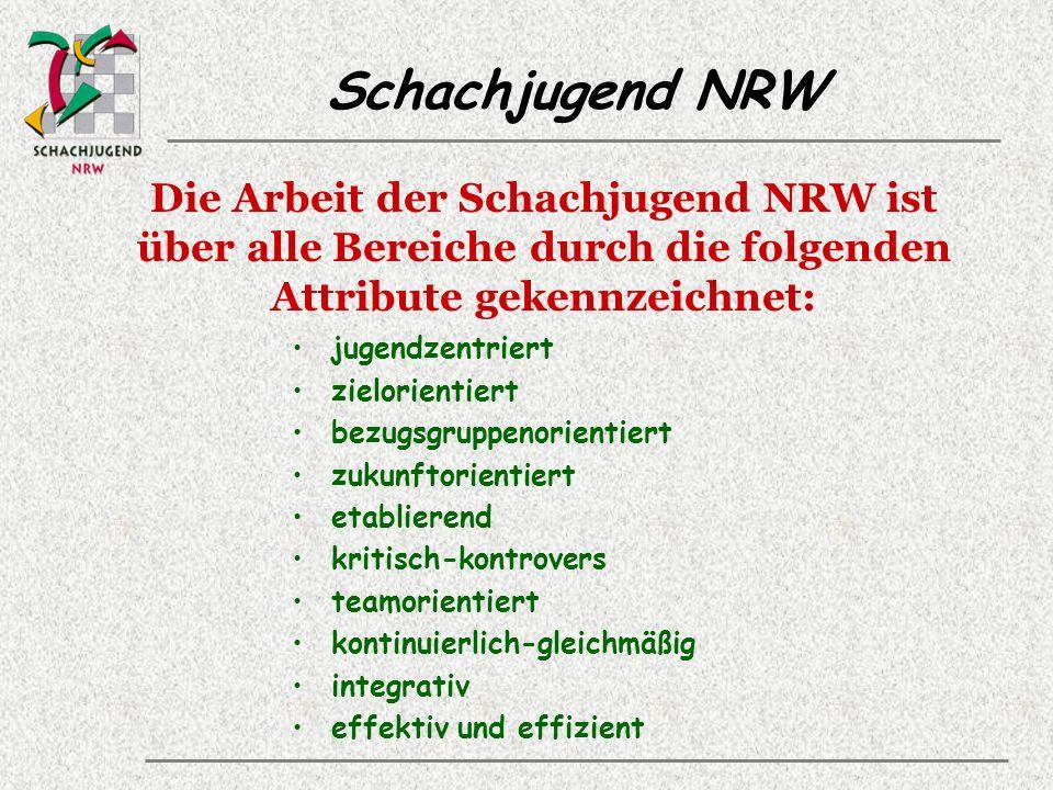 Schachjugend NRW Die Arbeit der Schachjugend NRW ist über alle Bereiche durch die folgenden Attribute gekennzeichnet: jugendzentriert zielorientiert bezugsgruppenorientiert zukunftorientiert etablierend kritisch-kontrovers teamorientiert kontinuierlich-gleichmäßig integrativ effektiv und effizient