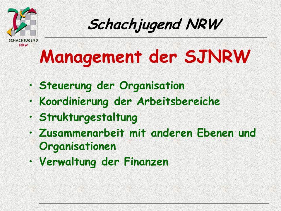 Schachjugend NRW Management der SJNRW Steuerung der Organisation Koordinierung der Arbeitsbereiche Strukturgestaltung Zusammenarbeit mit anderen Ebenen und Organisationen Verwaltung der Finanzen