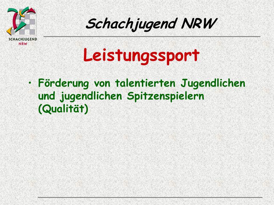 Schachjugend NRW Leistungssport Förderung von talentierten Jugendlichen und jugendlichen Spitzenspielern (Qualität)