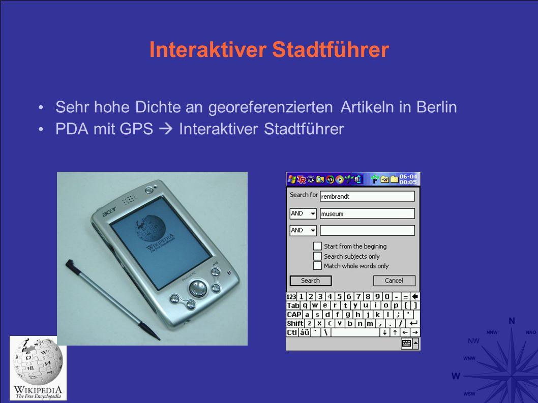 Interaktiver Stadtführer Sehr hohe Dichte an georeferenzierten Artikeln in Berlin PDA mit GPS Interaktiver Stadtführer