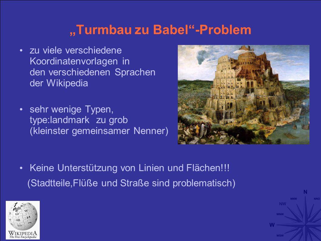 Turmbau zu Babel-Problem zu viele verschiedene Koordinatenvorlagen in den verschiedenen Sprachen der Wikipedia sehr wenige Typen, type:landmark zu grob (kleinster gemeinsamer Nenner) Keine Unterstützung von Linien und Flächen!!.